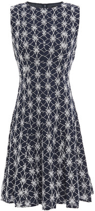 DKNY Flared Embroidered Cotton Mini Dress