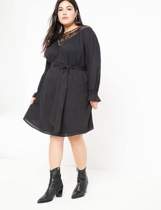 ELOQUII Embroidered Yoke Dress