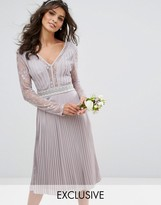TFNC WEDDING Pleated Midi Dress with Long Sleeves and Lace Inserts with Embellished Waist