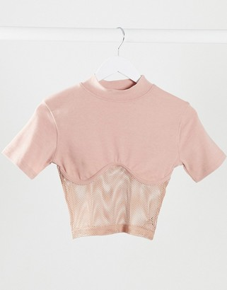 Public Desire structured crop top with mesh panel