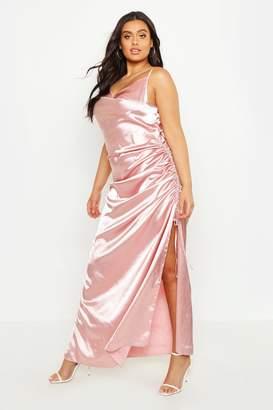 boohoo Plus Satin Cowl Neck Maxi Dress