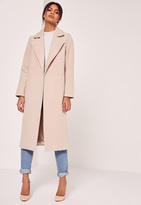 Missguided Longline Faux Wool Duster Coat Nude
