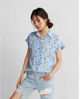 Express bird print easy drape short sleeve shirt