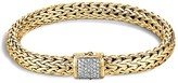 John Hardy Classic Chain 18K Gold Medium Bracelet with Diamond Pavé