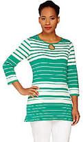 Liz Claiborne New York 3/4 Sleeve Striped Teew/ Keyhole Dtl