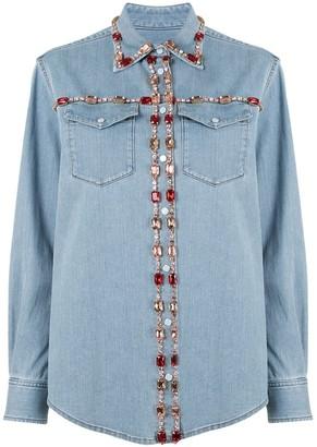 Dolce & Gabbana Crystal-Embellished Denim Shirt