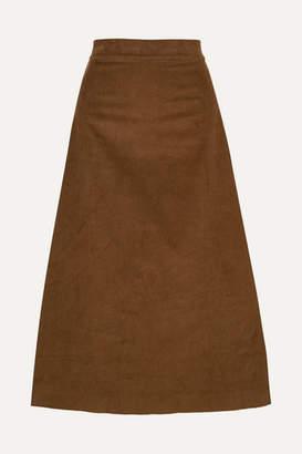 ARoss Girl x Soler Alma Cotton-corduroy Midi Skirt - Army green