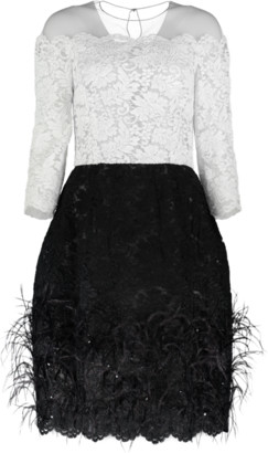 Oscar de la Renta Lace Top Cocktail Dress