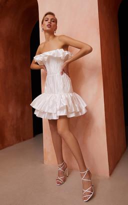 Rasario Bridal Ruffled Silk Corset Mini Dress