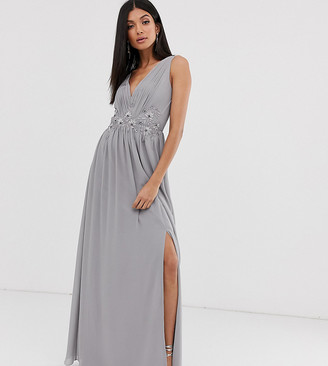 Little Mistress Tall tulle maxi dress with side split and lace detail-Grey