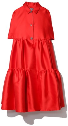 Lela Rose Duchess Satin Flounce Hem Cape Dress in Scarlet