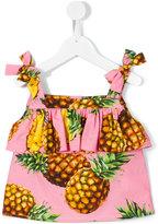 Dolce & Gabbana pineapple print bow shoulder tank top - kids - Cotton - 3 yrs