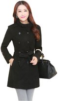 Qiuse Women's Cute Double-Breasted Belted Winter Trench Wool Peacoats
