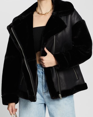 Missguided Women's Black Leather Jackets - Faux Fur Sleeve Aviator Jacket - Size 8 at The Iconic