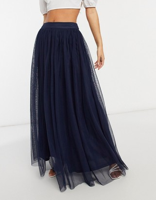 Lace & Beads tulle maxi skirt in navy