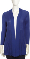 Neiman Marcus Open-Front Ribbed Panel Cardigan, Admiral Blue