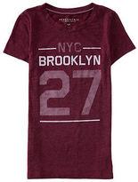 Aeropostale Womens Nyc 27 Brooklyn Felt Graphic T Shirt Purple