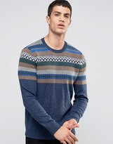 Hollister Crew Knit Sweater Chest Pattern In Blue