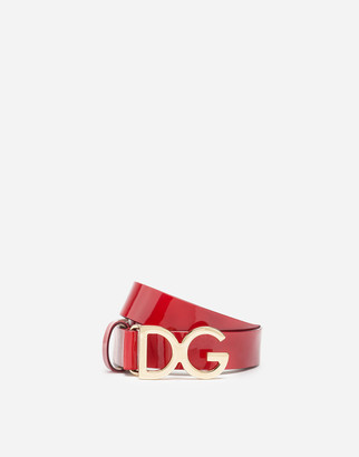 Dolce & Gabbana Patent Leather Belt With Buckle