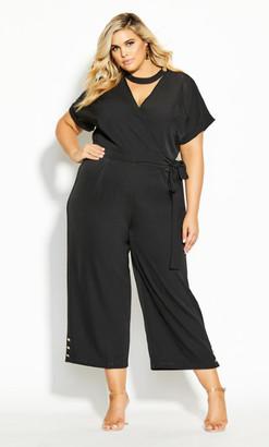 City Chic Sassy Button Jumpsuit - black