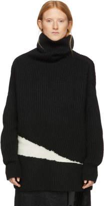 Ann Demeulemeester Black and White Wool Side Elastic Turtleneck
