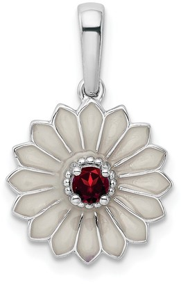 Sterling Silver Created Ruby and Enamel Flower Pendant