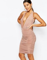 Club L Halterneck Wrap Dress with Ruched Detail Side