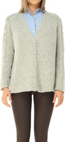 Max Studio Wool & Cashmere Tweed Chunky Knit Cardigan Sweater