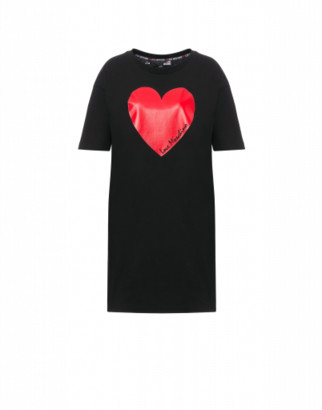 Love Moschino Jersey Dress With Heart Woman Black Size 38 It - (4 Us)