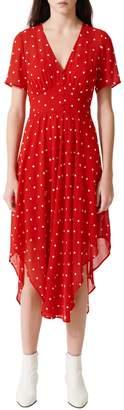Maje Raola Embroidered Midi Dress