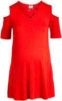 Times 2 Women's Tee Shirts RED - Red Crisscross-Neckline Maternity Cold-Shoulder Dress