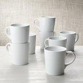 Crate & Barrel White Porcelain Coffee Mugs, Set of 8