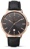 Accurist Black Leather Strap Black Dial Watch 7013.01
