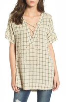 LIRA Women's Grayson Windowpane Lace-Up Tunic