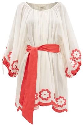 Innika Choo Frida Burds Embroidered Cotton Mini Dress - Womens - Cream