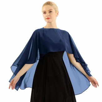 ranrann Women's Sheer Chiffon Asymmetric Shawls and Wraps Bridal Wedding Capes Shrugs Blue One Size
