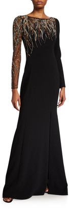 Couture Theia Bead Embellished Long-Sleeve Crepe Gown w/ Illusion Sleeve