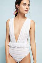 Nightcap Clothing Bardot Ruffled Lace One-Piece Swimsuit
