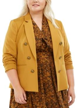 Bar III Trendy Plus Size Faux-Double-Breasted Blazer, Created for Macy's