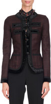 Givenchy Velvet-Trim Prince of Wales Plaid Jacket, Purple