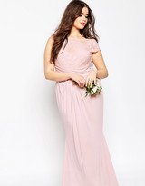 Asos WEDDING Pleated Maxi Dress With Lace Top