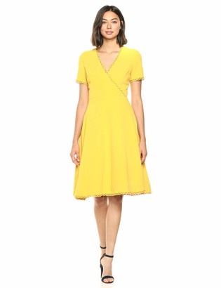 Dress the Population Women's Dominique Sleeve Crossover Fit & Flare Short Dress