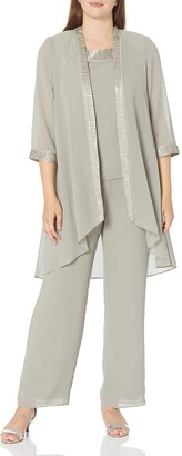 Le Bos Women's Pleated Satin Trim Duster Three Piece Pant Set