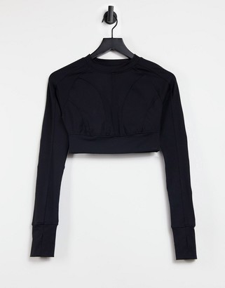 Steele seam detail slim long sleeve top in black