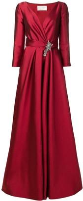 Alberta Ferretti V-neck brooch gown
