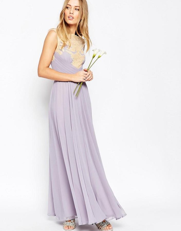Asos Wedding Lace Applique Maxi Dress