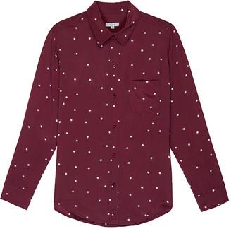 Rails Kate Long Sleeve Silk Shirt in Merlot Twinkle - dark red | Small UK 8-10 - Dark red