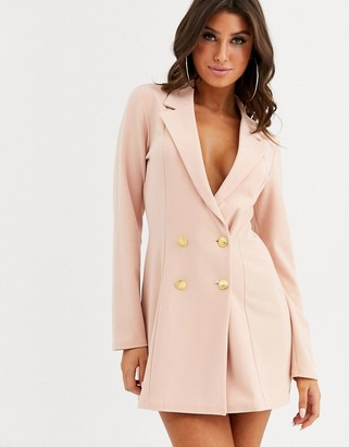 Asos Design DESIGN glam double breasted jersey blazer-Pink