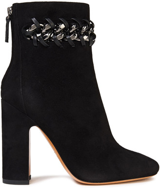 Valentino Chain-embellished Suede Ankle Boots