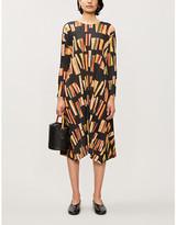 Pleats Please Issey Miyake Graphic-print pleated plisse midi dress
